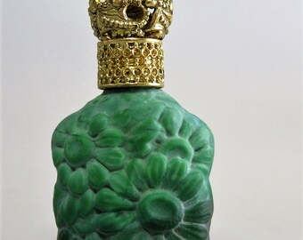Art Deco Malachite Glass Perfume Bottle Czechoslovakia