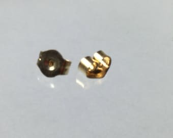 14K Yellow Gold Small Friction Back Ear Nut (pair)