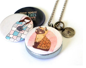 Cat Lover Gift, Cat Jewelry, Cat Locket Necklace, Magnetic, 3 Necklaces in 1, Holds a Picture Inside, Time Spent With Cats, Nan Lawson Art