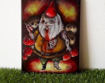Zombie gnome original acrylic painting on canvas