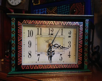 Hand Painted Unique Bohemian Turquose Wood Clock For Home or Office X0043