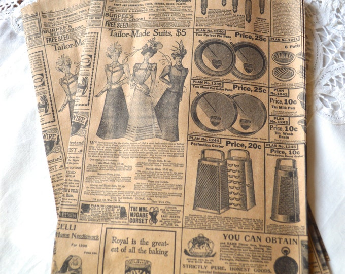Newsprint Kraft Paper Bags, Merchandise Bags, Candy, Popcorn, Treat, 1 dozen