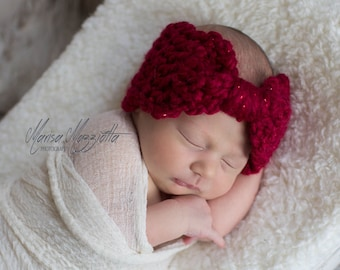 Crochet Headband Bow in Valentine Red - crochet earwarmers for baby girls - crochet ear warmers for girls - crochet earmuffs for women
