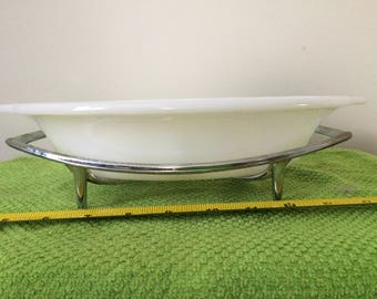 Vintage FIRE KING Divided Casserole Dish #468 Milk Glass Anchor Hocking with Trivet