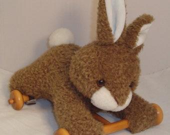 Vintage Plush Bunny Rabbit Pull Toy