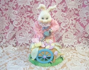 Gardening Bunny with Flower Cart Figurine