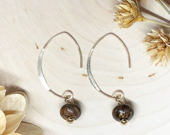 Bronzite 14k Gold Filled 20.5 Gauge Threader Earwire Earrings