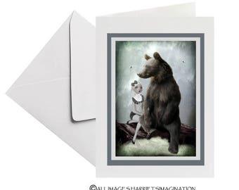 Greeting Card | Fairytale Greeting Card | Goldilocks Greeting Card | Goldilocks And Bear | Blank Card | Art Greeting Card | Goldilocks