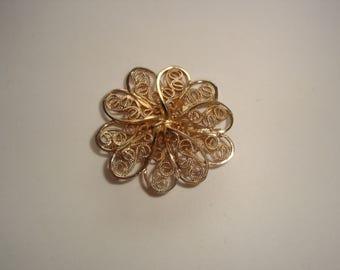 Vintage A & Z Gold Filled Filigree Flower Brooch