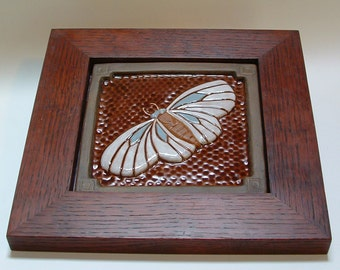 Framed Moth tile, Arts and Crafts style for decor. Craftsman Housewarmings or Wedding Gift
