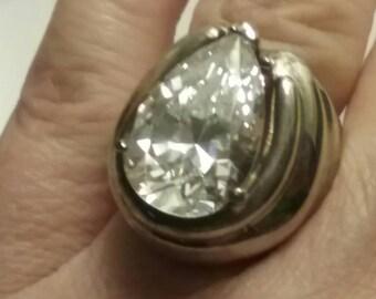 Vintage Pear Shaped Ring, Modernist Ring Engagement Ring