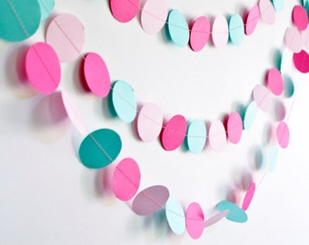 Pink & Turquoise, 10ft, Paper Garland, Birthday Party Decor, Wedding Shower Decor, Nursery Decor