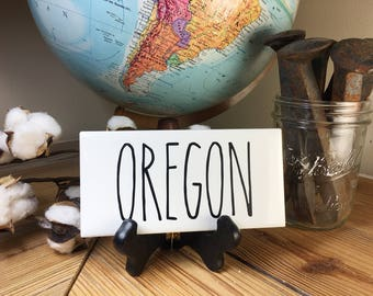 Rae Dunn Inspired OREGON State Sign Farmhouse Style Home Decor Rae Dunn Sign Farmhouse Sign Fixer Upper Decor Farm Decor