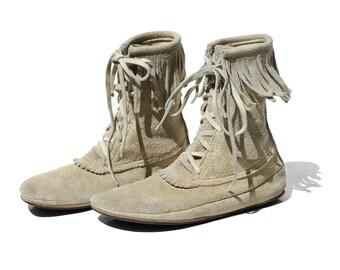 Vintage Men's Suede Leather Moccasin Fringe Ankle Boots / size 8.5