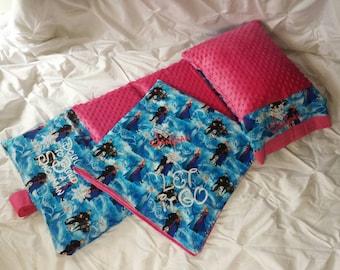 Kindergarten Mat Cover Frozen Fabric appliques  Mat Cover Pillow case Blanket Hot Pink Minky Dot Let it Go Do u Want to Build a Snowman