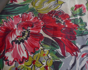 FINAL SALE Vintage 1940's, 50's Large Scale Reds, Greens, Chartreuse Stylized Poppies Floral Barkcloth Era Cotton Fabric, 4 yards