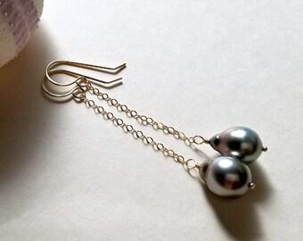 Long Tahitian Pearl Earrings, Grey Tahitian Pearl Earrings, Long Pearl Dangle, Peacock Pearl Drop Earrings, 9 mm Pearls:  Ready Made