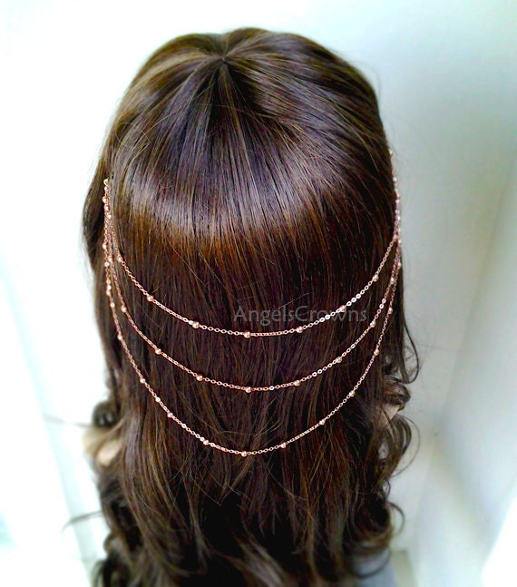 Rose Gold Hair Chain Headpiece pink gold Hair Jewelry Head