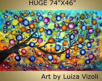 Art Painting Abstract XXL Summer Raindrops Landscape Original Art Tree Huge Acrylic Painting 74x46 canvas-by Luiza Vizoli