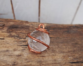 Simple, Copper, wrapped, crystal ball, Quartz, pendant.