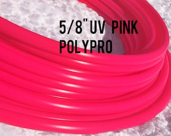 """UV Pink  5/8"""" Polypro Dance & Exercise Hula Hoop COLLAPSIBLE push button or minis - ultraviolet glows in black light"""