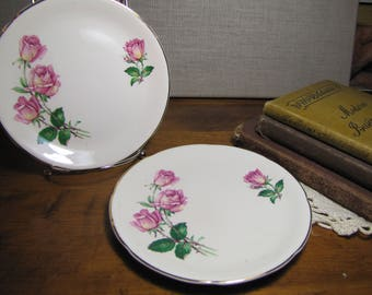 Two (2) Rose Bouquet Bread and Butter Pates - Pink Roses and Rosebuds - 22kt Gold Accent - Made in England
