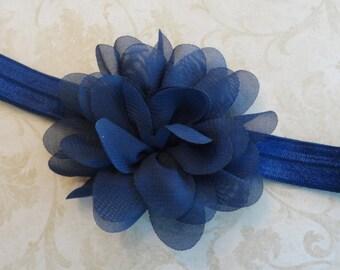 Baby Headband, Navy Blue Chiffon Flower Headband, Infant Headband, Newborn Headband, Girls Headband, Bow Headband