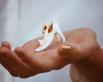 Flying Cat with gold wings, Ceramic miniature sculpture Porcelain figurine, sweet minature animal white Kitten
