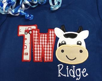 Cow birthday shirt, second birthday shirt, personalized birthday shirt, personalized cow shirt