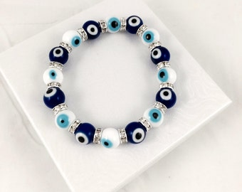 Evil Eye Bracelet - High Quality Glass Beads - Nazar Protection - Hamsa - Turkish Evil Eye - Perfect Gift