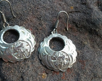 Etched Sun Sterling Loop Earrings Hecho Mexico