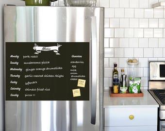 Meal Planner Chalkboard Decal, Menu Wall Decal, Refrigerator Decal, Weekly Menu Planner, Kitchen Menu - by Simple Shapes