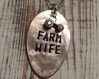 Farm wife hand stamped spoon necklace