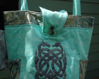 Tote Bag, Dragon Tote, Fantasy Art, Celtic Dragon, Dragon Knot