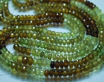 Full 14 inch Strand of Machine Cut Quality GROSSULAR GARNET Faceted Rondelles Beads Shape 4-7mm aprx