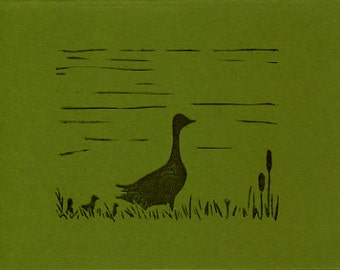 Hand-stamped Block Print Greeting Card - Goose with Goslings - Green - Recycled Paper - Eco-friendly Greeting Card