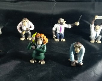 Set of 7 Vintage and rare small pvc office monkey figures