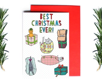 Christmas Cards - Best Christmas Ever! | Greeting Card | Holiday Card | Cat Christmas Card