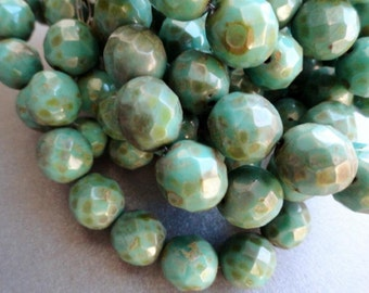 Premium Czech Glass Beads - 12mm Turquoise Picasso - Faceted Rounds - 12mm Fire Polished - Bead Soup Beads
