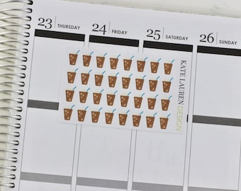 Iced Coffee Planner Stickers, Iced Coffee Stickers, Frappuccino Stickers, Frappe Stickers, Frappuccino Planner Stickers, Frappe Planner