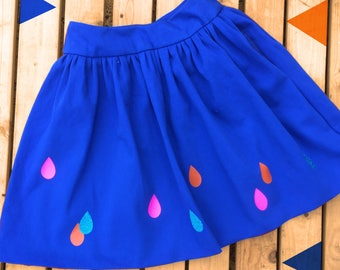 Blue Women's Skirt- READY TO SHIP Raindrops pattern- handmade Royal Blue Ladies clothing with pockets! Neon Pink!