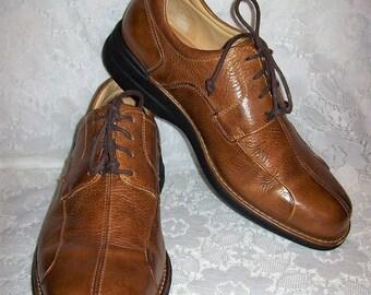 Vintage Men's Brown Sheepskin Leather Split Toe Oxfords by Johnston & Murphy Size 9 1/2 Only 18 USD