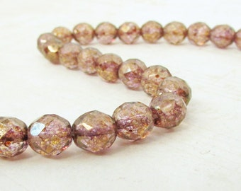 25pc - Copper Luster Beads, 8mm Fire Polished Czech Glass Beads, Faceted Round, Preciosa Faceted Bead