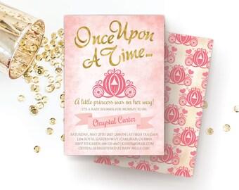 Royal Princess Baby Shower Invitation, Once Upon A Time / Storybook / Pink Baby Shower Invitations, Cinderella / Little Princess Invite