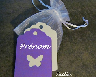 Set of 8 tags: violet + white cardstock