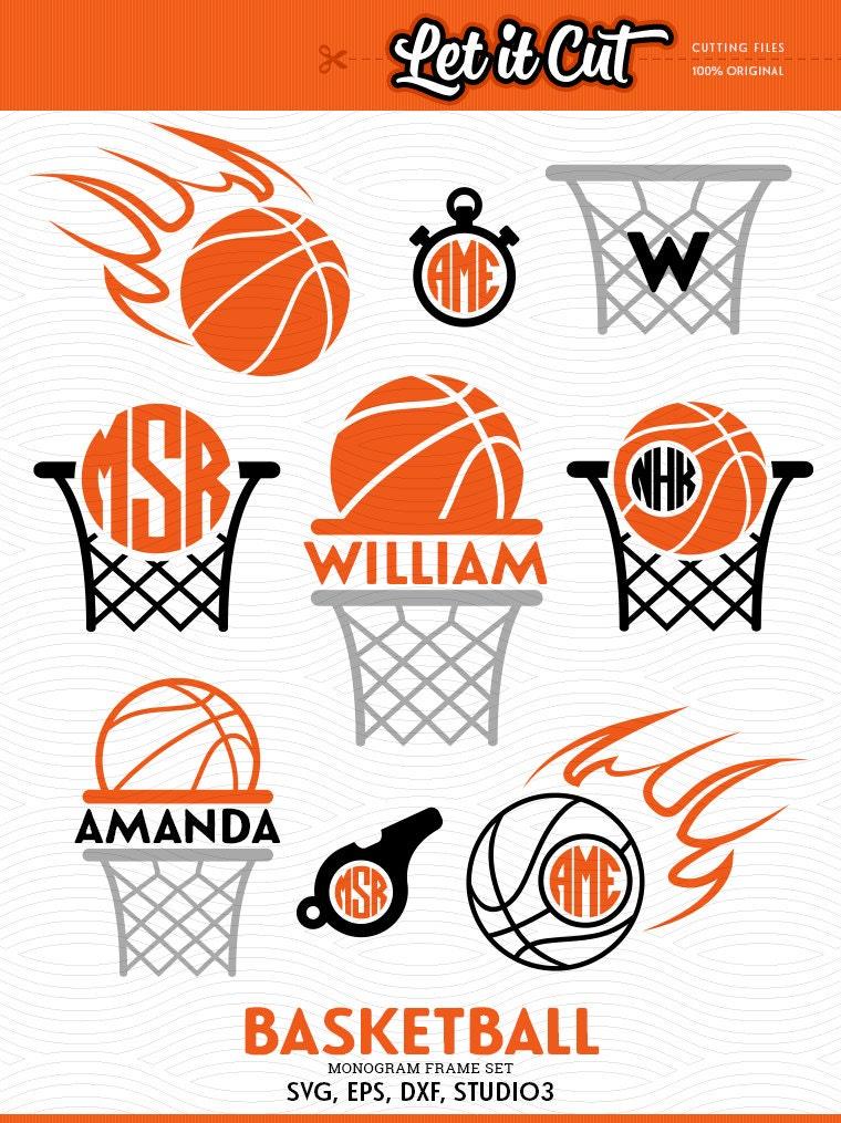 Baloncesto de baloncesto SVG monograma Marcos Svg Eps Dxf