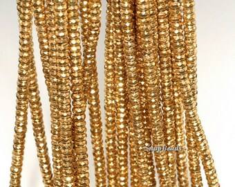 4x2mm Gold Hematite Gemstone Gold Faceted Rondelle 4x2mm Loose Beads 15.5 inch Full Strand (90147052-148)