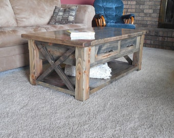 Rustic Coffee Table with Drawers/Breadboards/X end