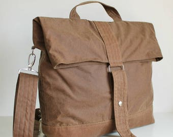 Vegan Bag, Waxed canvas backpack, waxed canvas rucksack, tan backpack, messenger bag, holdall, unisex bag, tote - The Tan Multi Way Backpack
