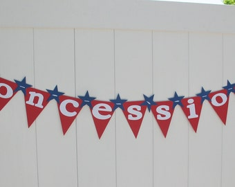 Concessions Baseball Party Banner with Blue stars- Ready to Ship